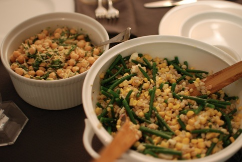 On the right: Barley and Corn Salad with Arugula and Haricot Vert ...